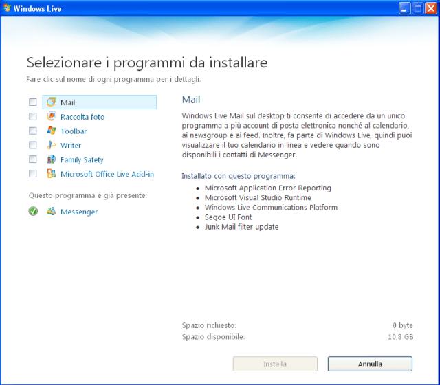 installazione programmi Windows Live