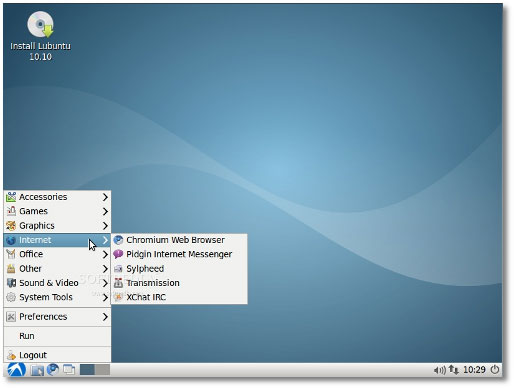 lubuntu 10.10 beta screenshot del desktop