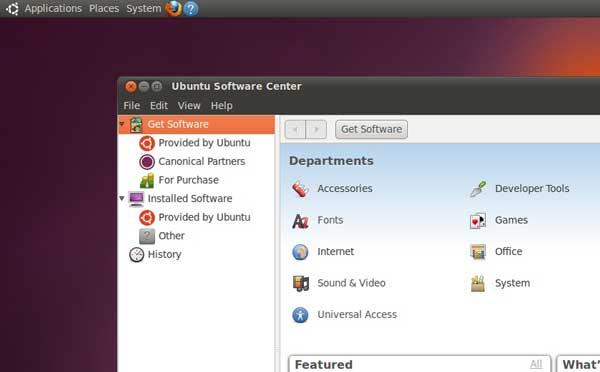 "screenshot di Ubuntu Software Center su Ubuntu 10.10 beta 3 ""Maverick Meerkat"""