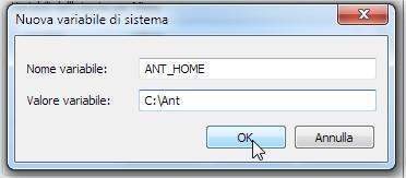 in base a dove abbiamo scompattato ANT impostiamo la variabile di sistema