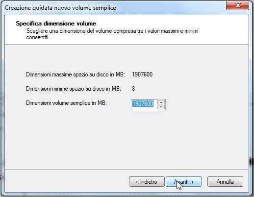 Le dimensioni del nuovo volume specificate procedura guidata