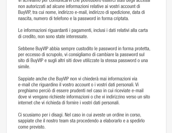 Violato Database di Buyvip, sito suggerisce di modificare la password