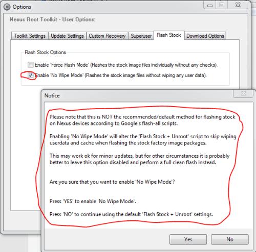 Options - Nexus root toolkit no wipe
