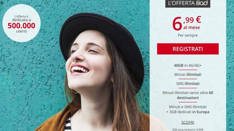 Iliad rilancia con una nuova offerta: 40GB in 4G+, Minuti ed SMS Illimitati a 6,99€