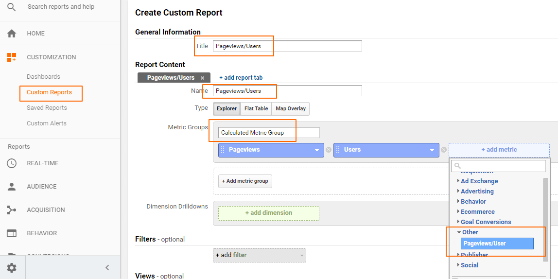 Image 6.6: Pageviews per User Custom Report Creation