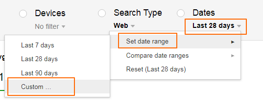 Image 7.8 - Setting Date Range in Search Console