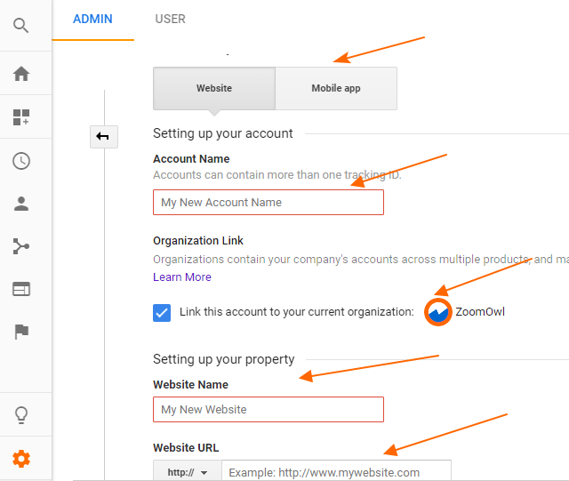 Image 1A.8. Settings of New Google Analytics Accounts