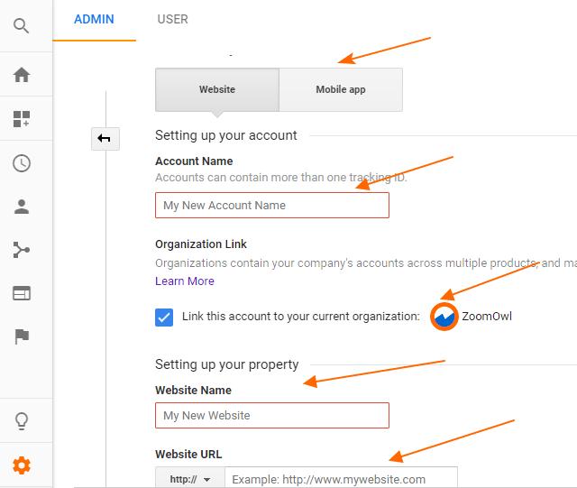 Image 1A.8. Settings of New Google Analytics Accounts