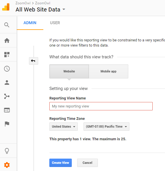 Image 1A.A. Creating a Google Analytics View