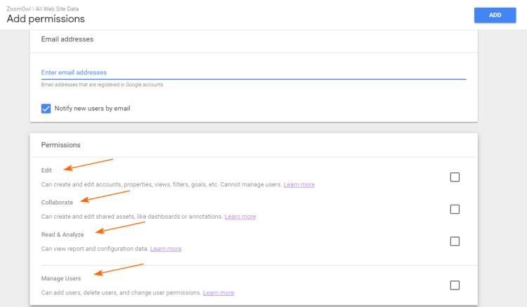 Image 1A.I. Google Analytics Add User Screen
