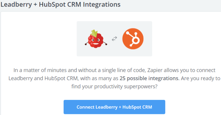 Image 1h.d. Leadberry & HubSpot CRM Integration