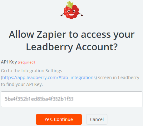 Image 1h.e. Leadberry API Connection in Zapier