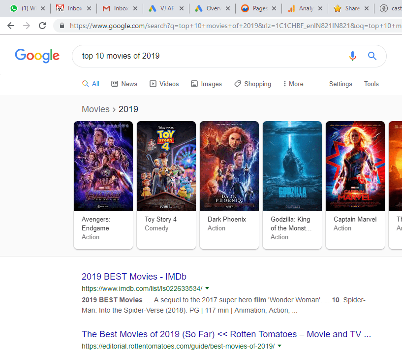 1i.a. Google Snippet for Top 10 Movies of 2019
