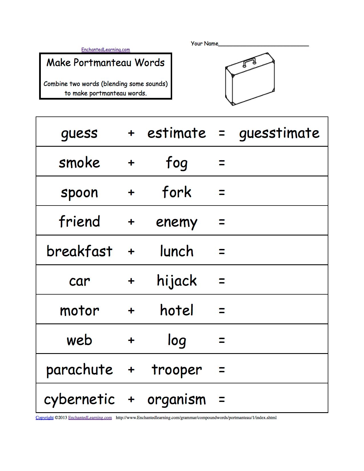 Portmanteau Words Printable Worksheets Enchantedlearning