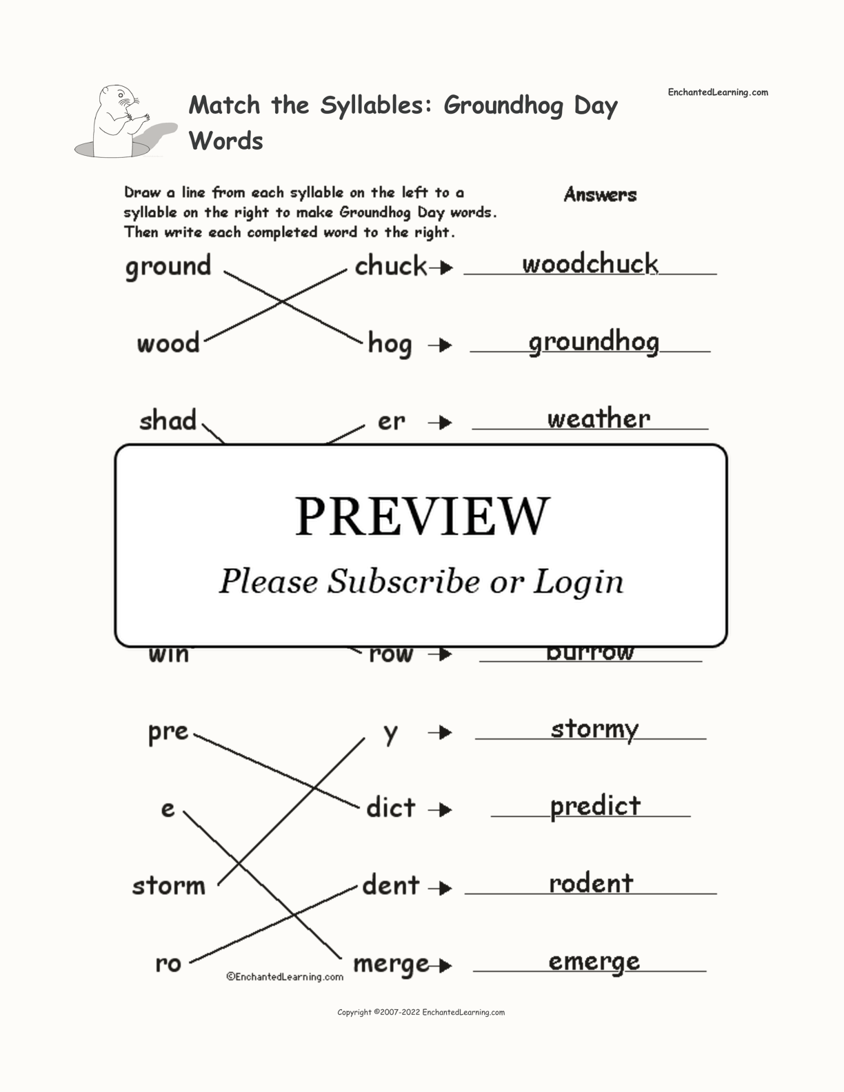 Match The Syllables Groundhog Day Words