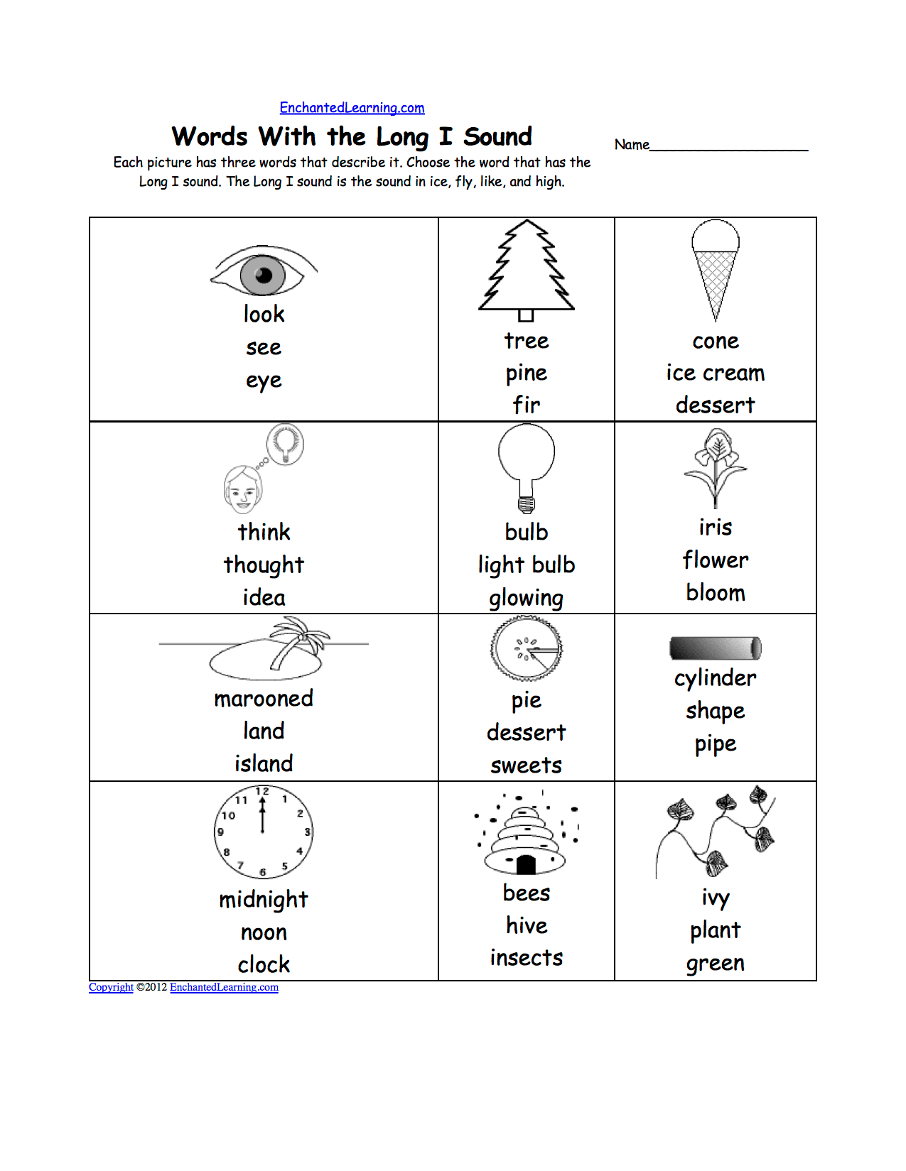 Long I Alphabet Activities At Enchantedlearning