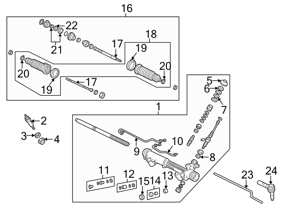 Mazda B2300 Rack and Pinion Assembly. Steering, Cab