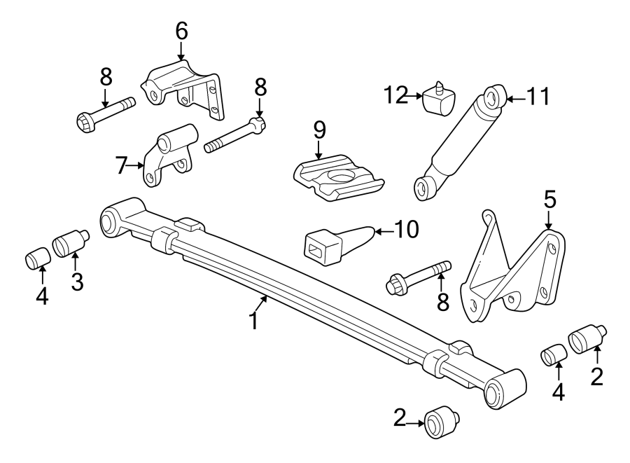 Mazda B2300 Leaf Spring Bracket (Front, Rear). SUSPENSION