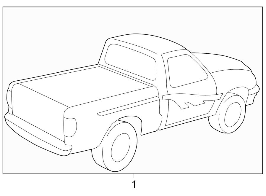 Mazda B4000 Trim Stripe Tape (Left). TYPE 2, cab plus