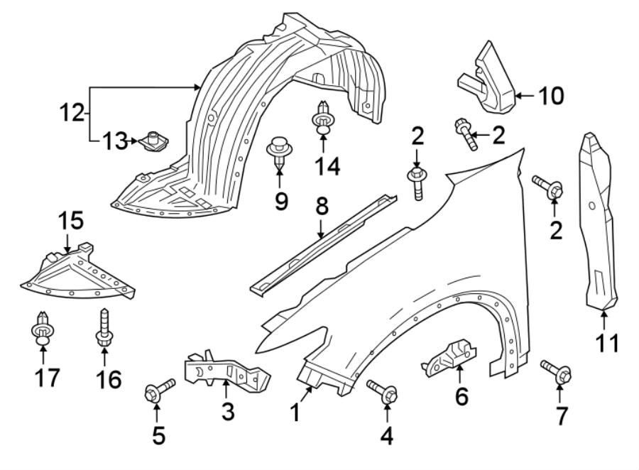 Mazda CX-9 Nut. Cover. Clip. Retainer. Bumper. (Front