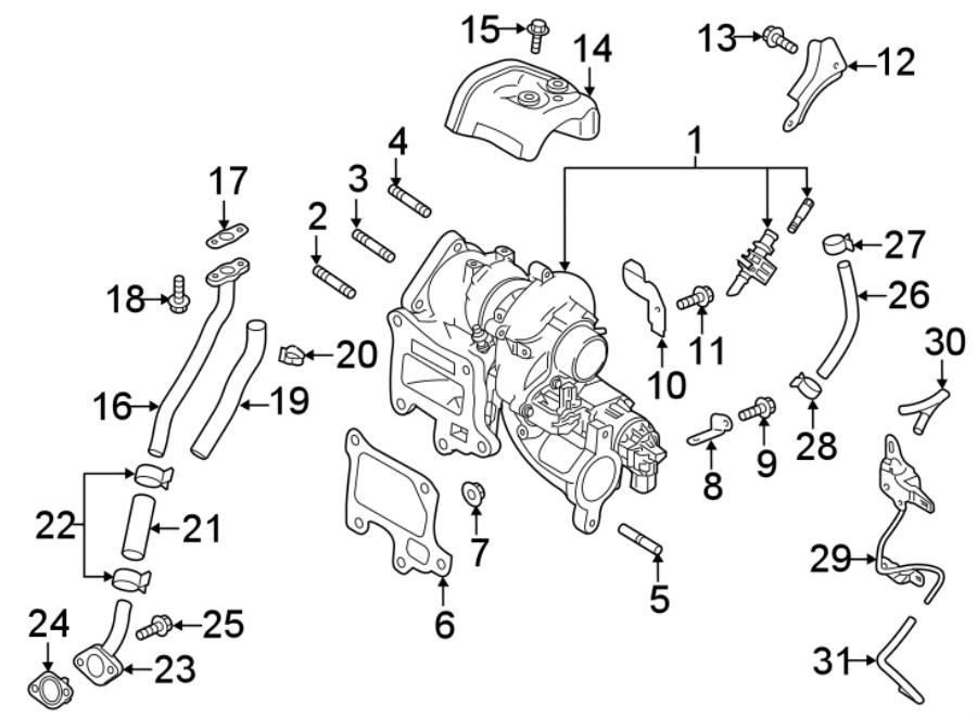 Mazda CX-9 Turbocharger. BracketS, LITER, Engine