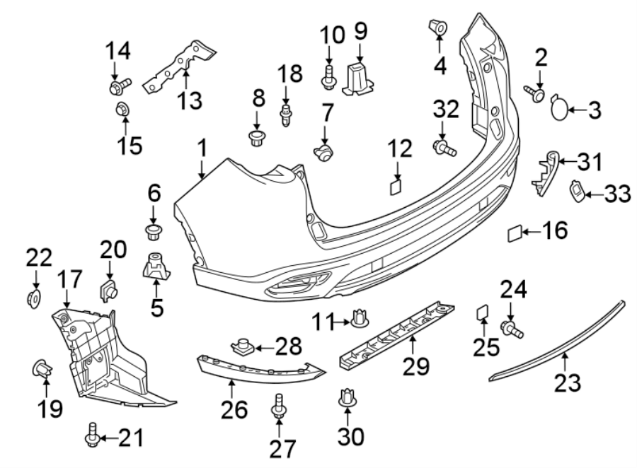 Mazda CX-9 Bumper, rear. Component may come unprimed from