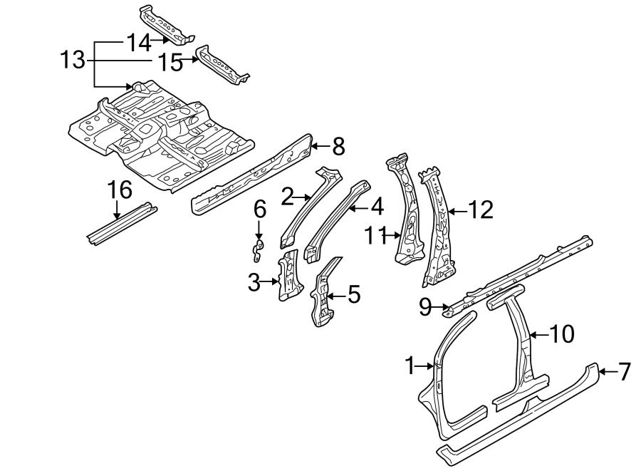 2002 Mazda Floor Pan (Front). HATCHBACK. SEDAN