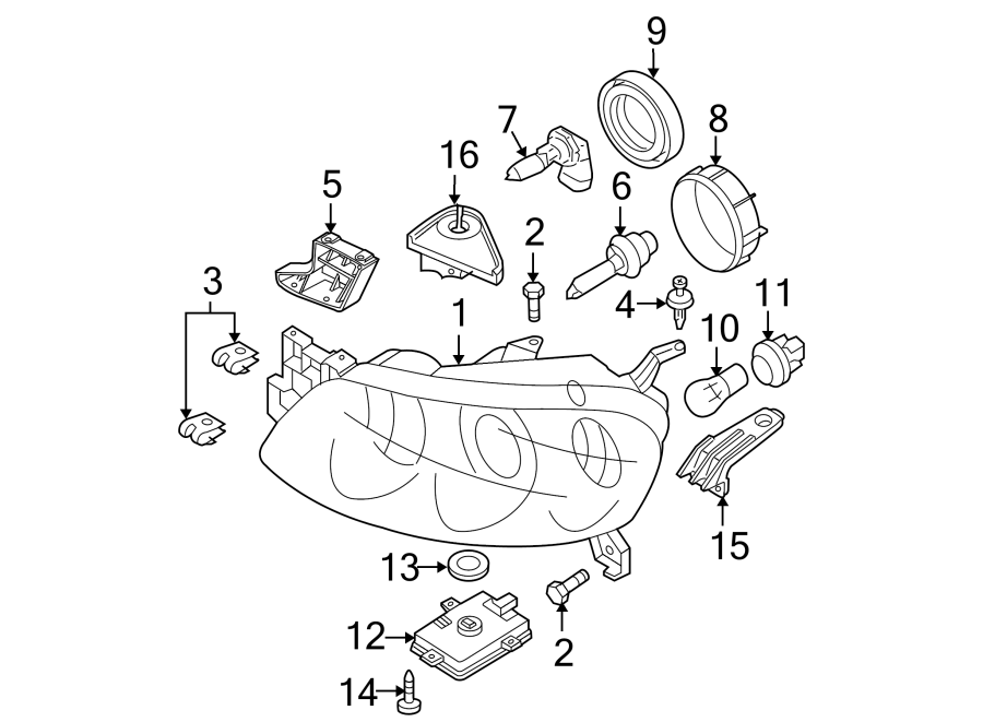 Mazda 3 Headlight Bracket. HALOGEN, inner, hatchback. HID