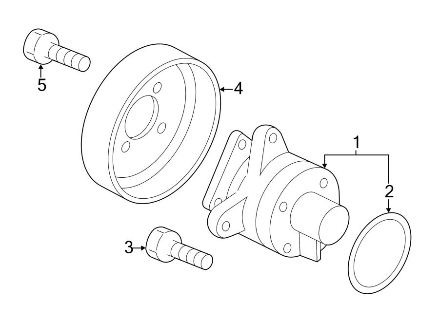 Mazda 3 Engine Water Pump Pulley. 2.3 LITER. 2.5 LITER. W