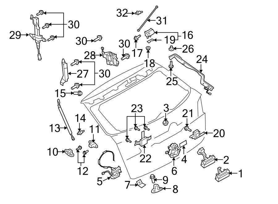 Mazda CX-9 Liftgate Latch. Rear; Dovetail latch ; Wedge