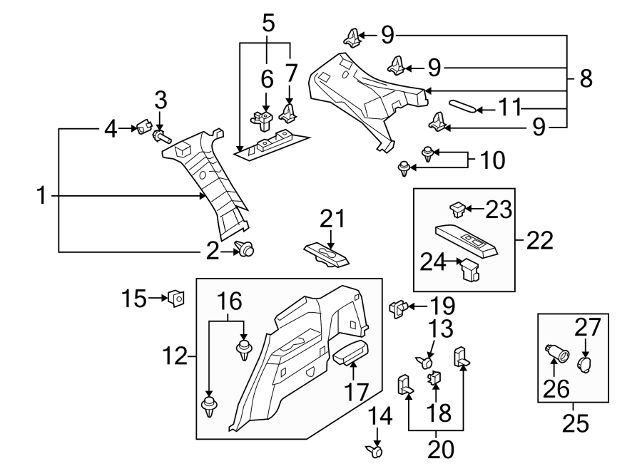 Mazda CX-9 Quarter Panel Trim Panel Clip (Upper, Lower