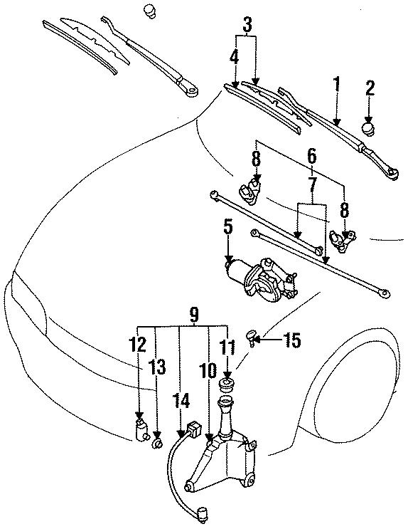 1994 Mazda MX-6 Front motor. Windshield wiper motor. Exc