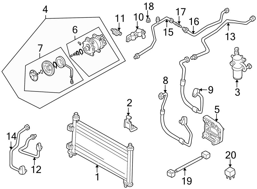 Mazda 626 A/c pipe. Evaporator, condenser, middle