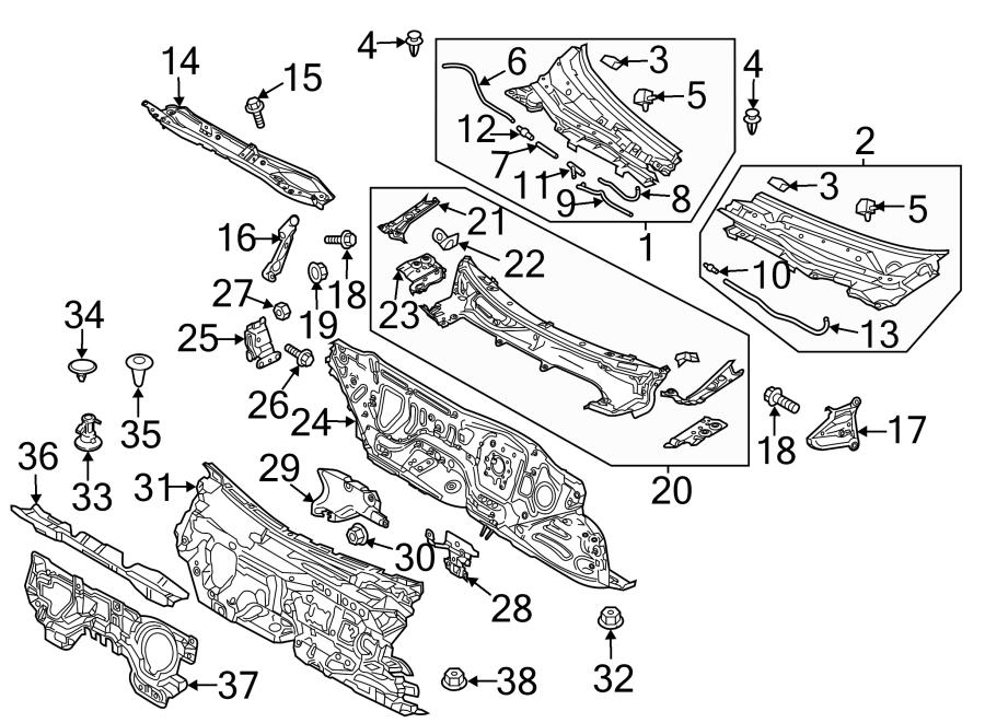 2015 Mazda Firewall (Lower). Manual trans. W/manual trans
