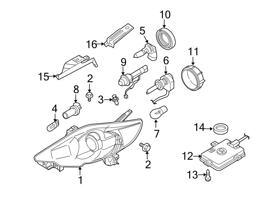 2010 Mazda 5 Headlight. Mazda5; Right; w/HID; From 6/4/09