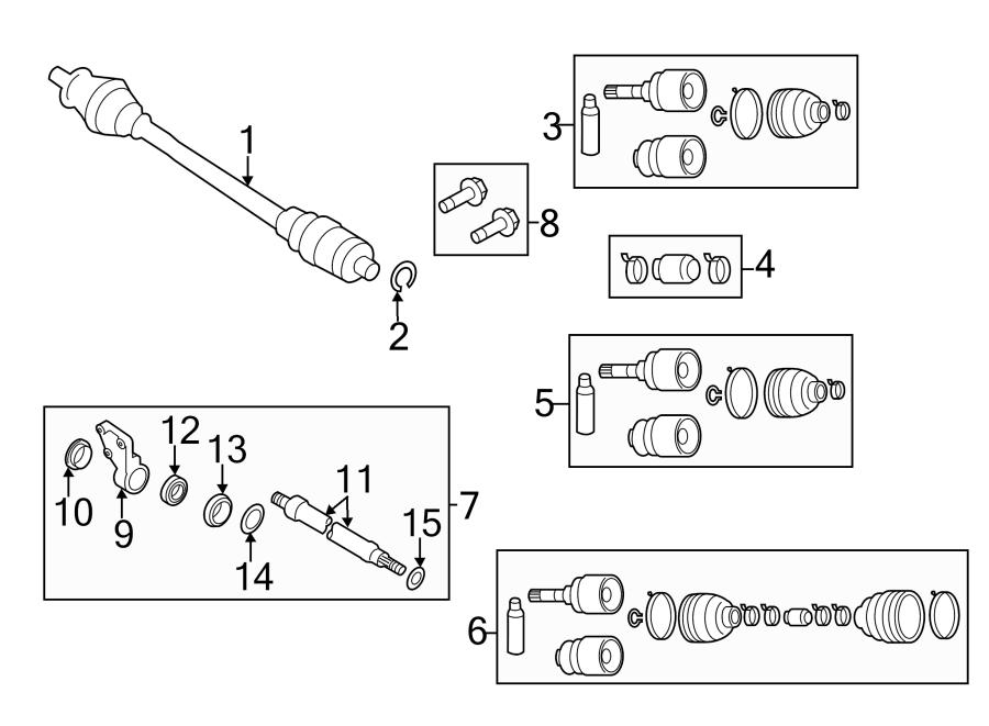 2005 Mazda 3 Cv axle shaft carrier bearing. Trans, manual