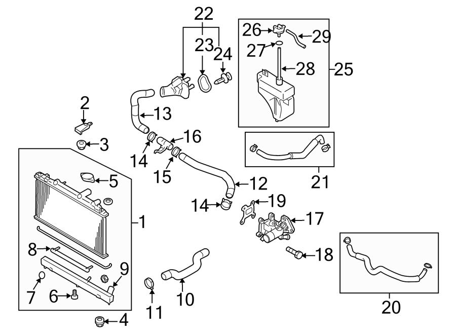 Mazda CX-7 Radiator Drain Plug. 2.3 LITER. 2.5 LITER. W