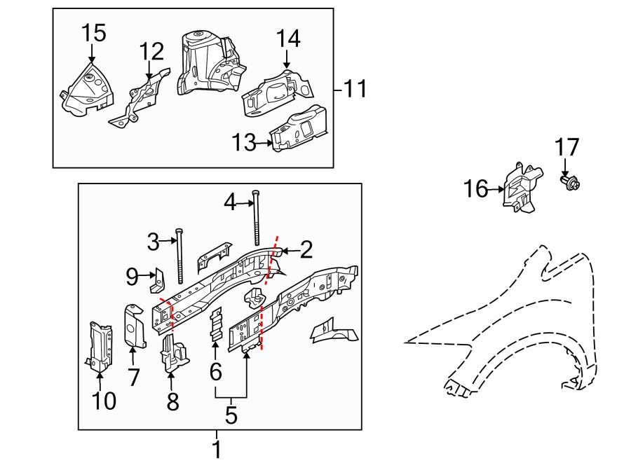 Mazda CX-7 Fender Rail (Right, Upper). Apron, Assembly