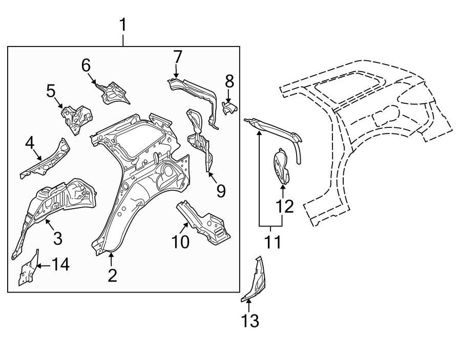 Mazda CX-7 Body D-Pillar (Rear). 2007-09. 2010-12. Inner