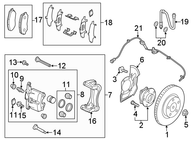 Mazda CX-5 Disc Brake Anti-Rattle Clip Set (Front). Pads
