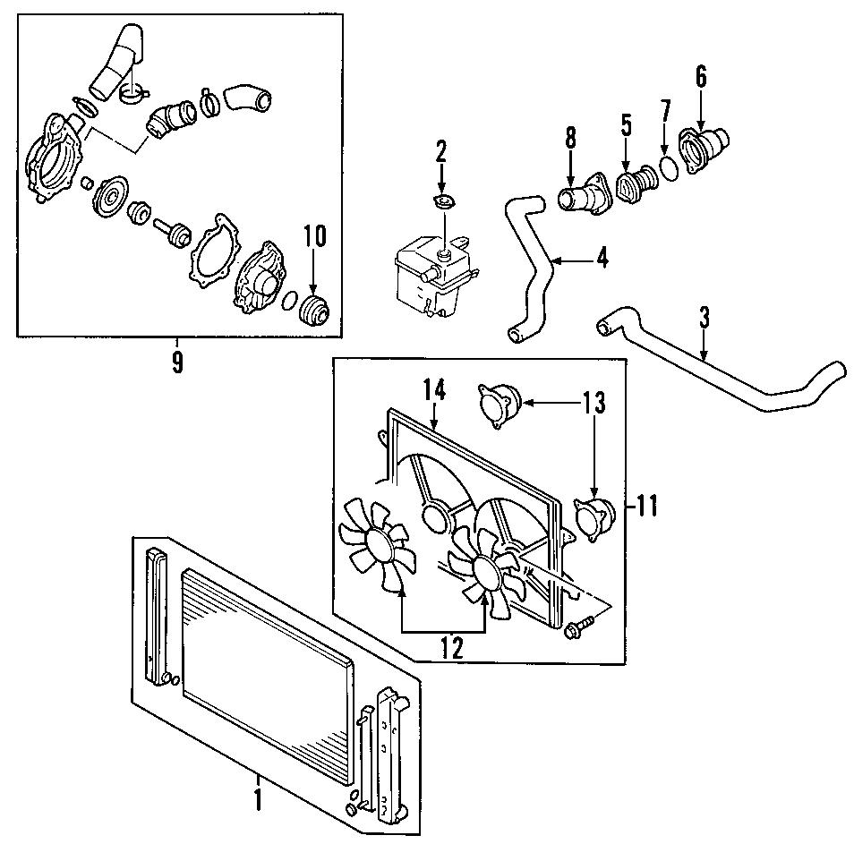Mazda MPV Engine Coolant Thermostat Housing. Cooling