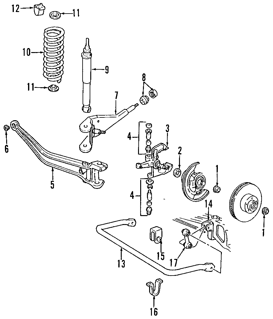 1996 Mazda B3000 Axle arm. Axle Beam. (Left, Front). 2WD