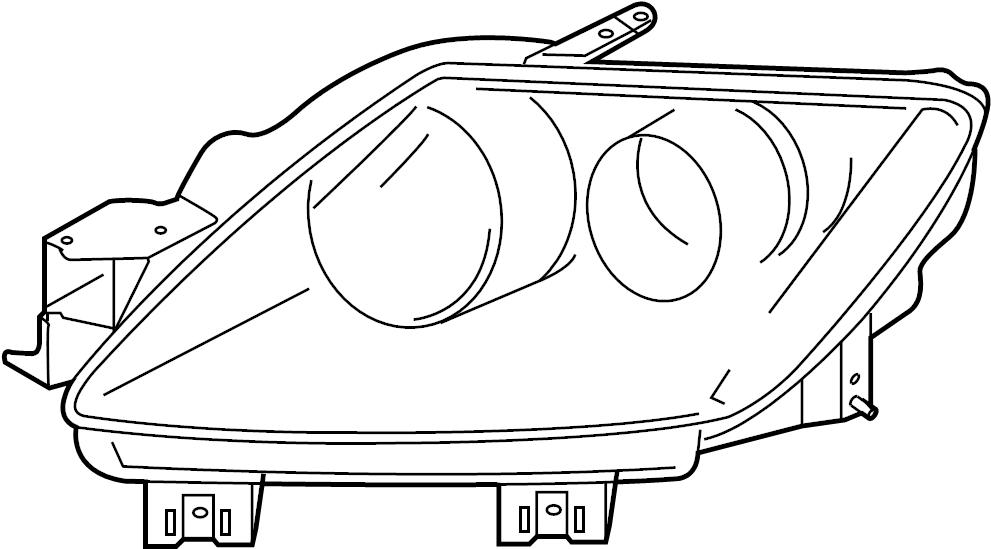 Mazda CX-7 Headlight. CX-7; w/o HID; Left; From 9/1/08