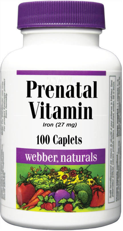 Prenatal Vitamin (Iron 27 mg) - 100 caplets - ZIN: 428712