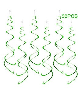 Party Swirl Decorations, Hanging Swirl for Ceiling Decorations, Green Party Swirl Decoration, Pack of 30