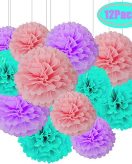 12pcs Pink Purple and Seafoam Blue Hanging Tissue Paper Pom Poms Decorations for Unicorn Party Decorations – 3 Colors of 12 Inch, 10 Inch