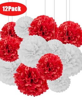 12pcs Red and White Hanging Tissue Paper Pom Poms Decorations for Party Ceiling Wall Tissue Flowers Decorations – 2 Colors of 12 Inch, 10 Inch