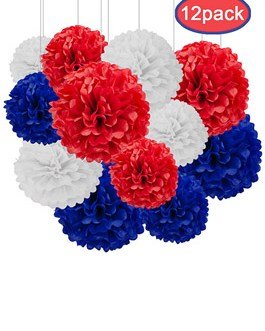 12pcs Red,White and Blue Hanging Tissue Paper Pom Poms Decorations for Party Ceiling Wall Tissue Flowers Decorations – 3 Colors of 12 Inch, 10 Inch