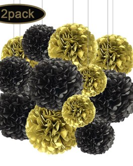 12pcs Black and Gold Hanging Tissue Paper Pom Poms Decorations for Party Ceiling Wall Tissue Flowers Decorations – 2 Colors of 12 Inch, 10 Inch