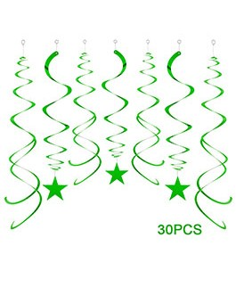 Green Party Star Swirl Decorations, Foil Ceiling Hanging Star Swirl Decorations, Pack of 30